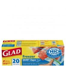 GLAD FREEZER BAGS ZIP 1qt 20s