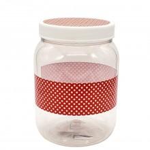 BANDEIRANTE PLASTIC JAR RED DOTS 1ct