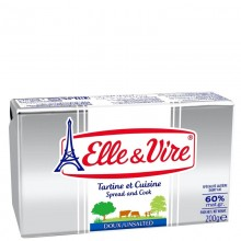 ELLE & VIRE BUTTER UNSALTED 60% FAT 200g
