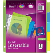 AVERY BIG TAB PLS DIVIDERS 5pc