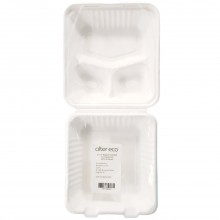 ALTER ECO BAGASSE CLAMSHELL 3 COMP 50ct