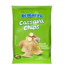ST MARYS CASSAVA CHIPS S/CRM & ONION 40g